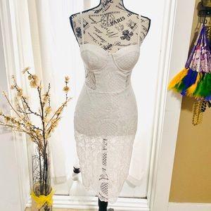 Lace Midi-Romper Dress by Bebe